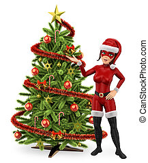 3D Woman superhero with a christmas tree