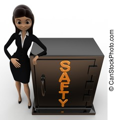 3d woman with safty locker concept on white background, yop...