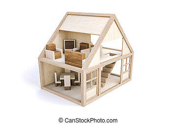 3d wood house on white background