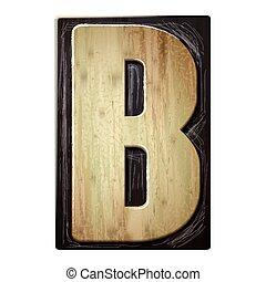 3d wood letterpress alphabet B