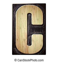 3d wood letterpress alphabet C