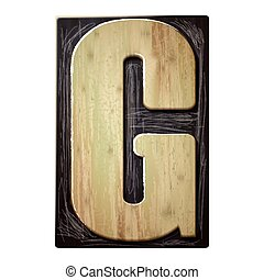 3d wood letterpress alphabet G