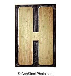 3d wood letterpress alphabet H
