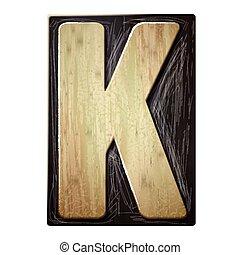 3d wood letterpress alphabet K