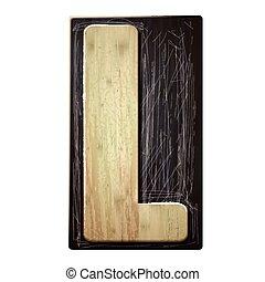 3d wood letterpress alphabet L