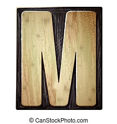 3d wood letterpress alphabet M