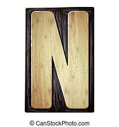 3d wood letterpress alphabet N