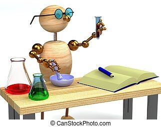 3d wood man as chemist holding tube - 3d wood man as chemist...