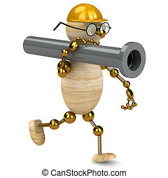 3d wood man carring a pipe