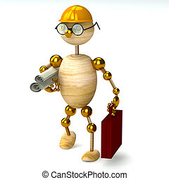 3d wood man engineer isolated on white