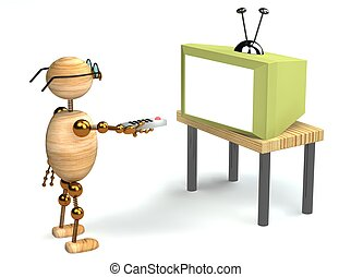 3d wood man is watching tv