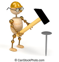 3d wood man with a hammer isolated
