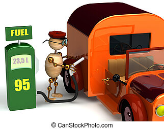 3d wood man with a petrol pump
