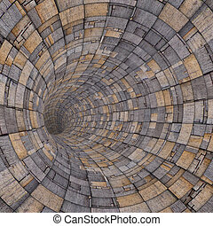 3d wood timber tile techno tunnel pipe