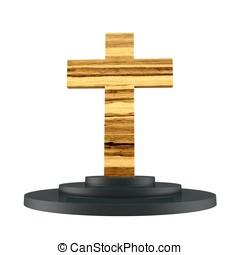 3d wooden cross with pedestal