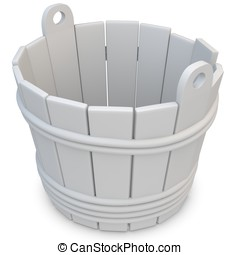 3d wooden empty bucket on white background