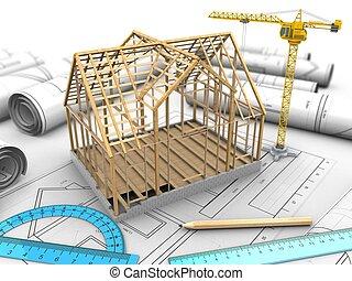 3d wooden house frame