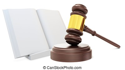 3d wooden judge gavel with open law book