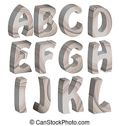 3D wooden letters of the alphabet, isolated on white background