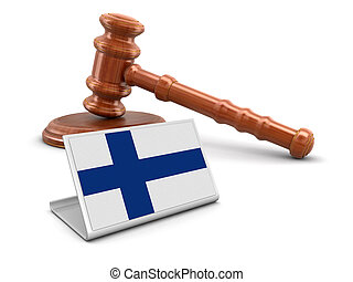 3d wooden mallet and Finnish flag