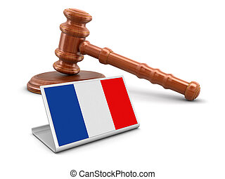 3d wooden mallet and French flag