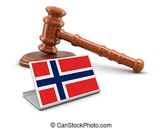 3d wooden mallet and Norwegian flag. Image with clipping path