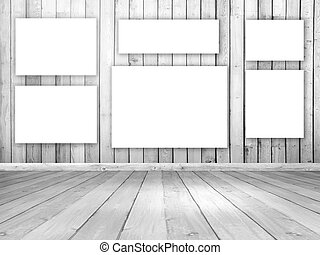 3D wooden room interior with blank hanging canvases