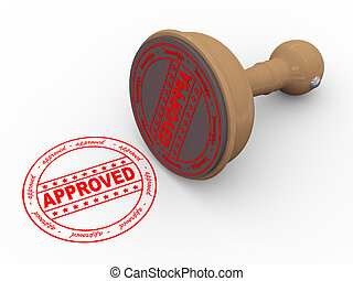 3d wooden rubber stamp - approved