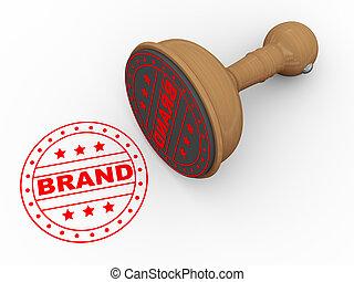 3d wooden rubber stamp - brand - 3d illustration of brand...