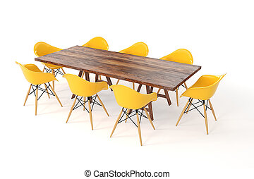 3d wooden table and chairs on white