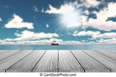 3D wooden table looking out to a yacht on the ocean