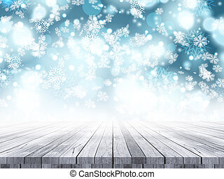 3D wooden table on a Christmas snowflake background