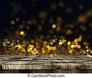 3D wooden table on bokeh lights and stars background