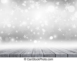 3D wooden table on Christmas snowflakes and stars background
