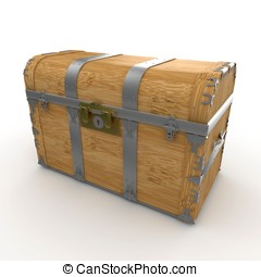 3d wooden treasure chest