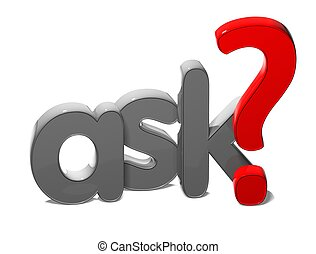 3D Word Ask on white background