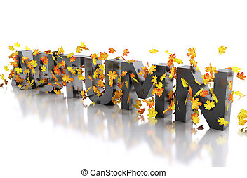 3d Word autumn decorated with leaves.