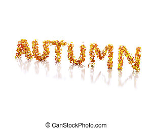 3d Word autumn written with leaves.