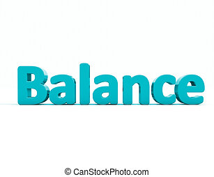 3d word balance word balance icon on a white background 3d