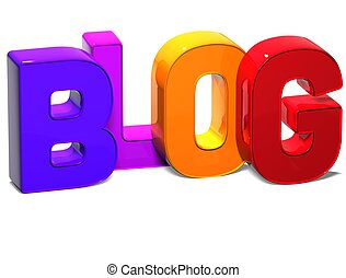 3D Word Blog on white background