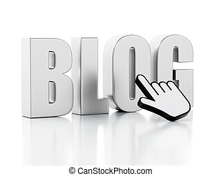 3D Word blog with mouse cursor