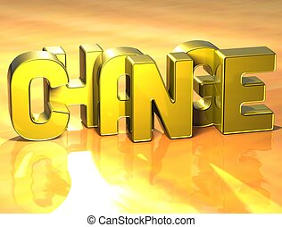 3D Word Change on yellow background