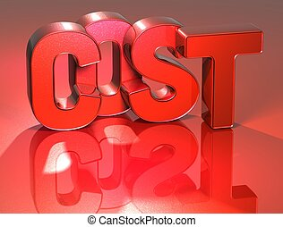 3D Word Cost on red background