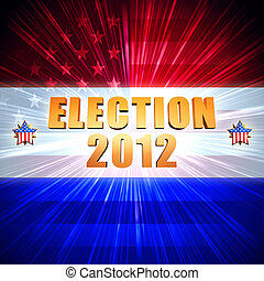 election and year 2012 with shining american flag and stars...