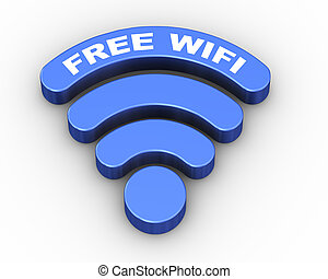 3d word free wifi wireless symbol icon