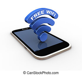3d word free wifi wireless symbol icon smartphone