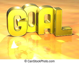 3D Word Goal on yellow background