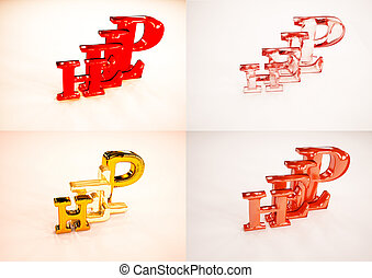 3D word HELP on white background set of pictures. 3D illustration.
