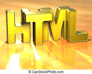 3D Word HTML on yellow background