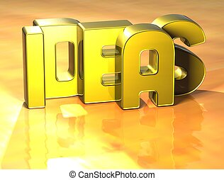 3D Word Ideas on yellow background